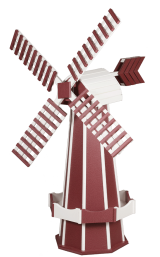 Red poly garden windmill