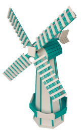 teal green and white poly garden windmill